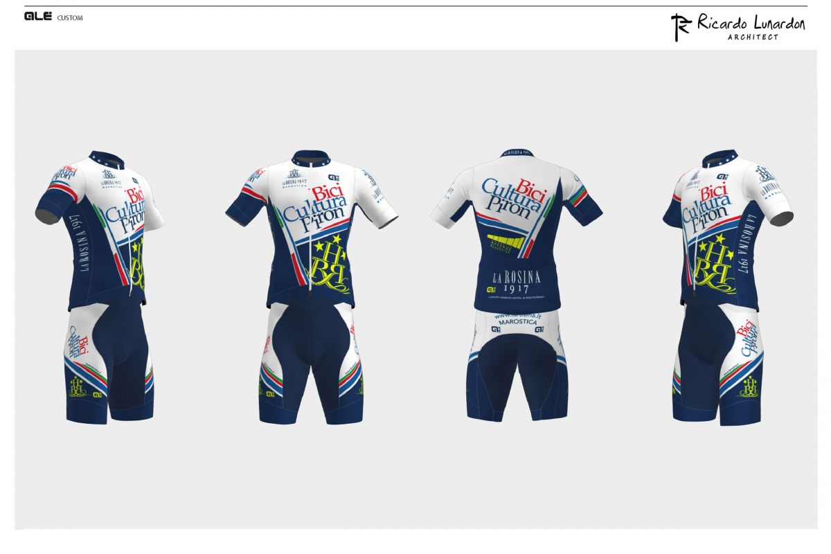 Cycling uniform graphic for La Rosina 'Bici Cultura & Piron' team